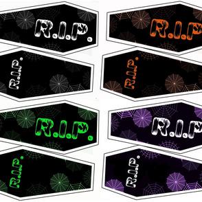 All 4 Coffin Pillow Kits Black, green, purple, orange, and white