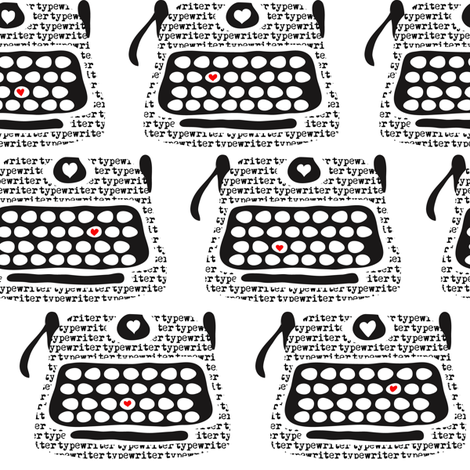 Clickity Clack (I heart in red the typewritten word)  fabric by vo_aka_virginiao on Spoonflower - custom fabric