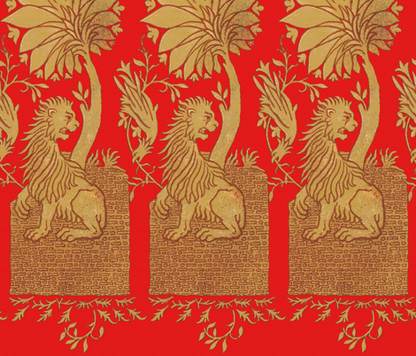 Thirteenth Century Golden Lion fabric by peacoquettedesigns on Spoonflower - custom fabric