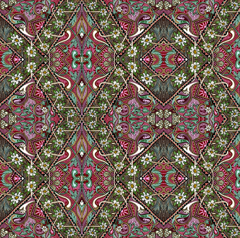 Dorothy's Garden (a homespun zig zag off kilter patch pattern ) fabric by edsel2084 on Spoonflower - custom fabric