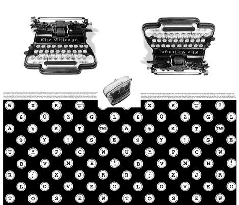 typewriter frame-purse fabric by melimiliá on Spoonflower - custom fabric