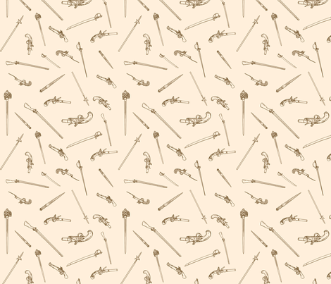 historical weapons spread-Brown and Tan fabric by ninniku on Spoonflower - custom fabric