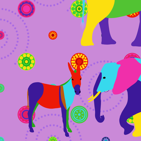 Donkeys & elephants fabric by alexsan on Spoonflower - custom fabric