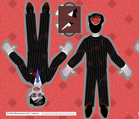 Zombie Businessman w/Combover and Valise fabric by glimmericks on Spoonflower - custom fabric