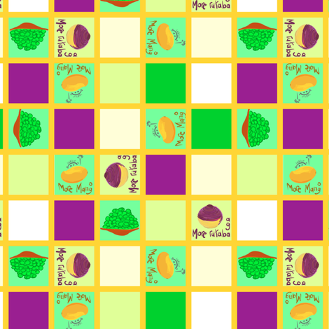 mango checker board fabric by mojiarts on Spoonflower - custom fabric