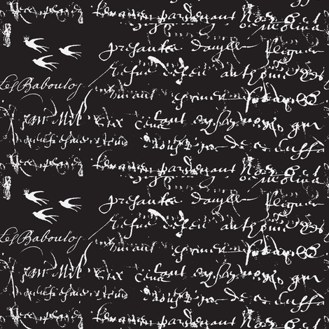 French Script, black and white old black fabric by karenharveycox on Spoonflower - custom fabric