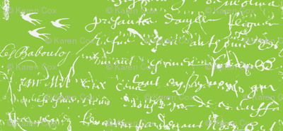 French Script Bold, Lime Green