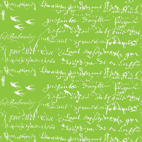 French Script Bold, Lime Green fabric by karenharveycox on Spoonflower - custom fabric