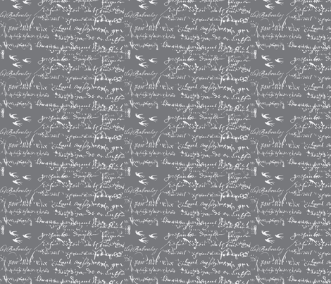 French Script Bold, Steel Gray fabric by karenharveycox on Spoonflower - custom fabric