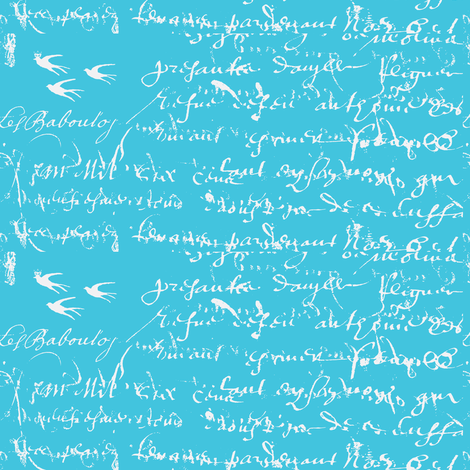 French Script Bold, Aqua Bold fabric by karenharveycox on Spoonflower - custom fabric