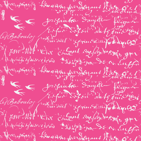 French Script Bold, Shocking Pink fabric by karenharveycox on Spoonflower - custom fabric