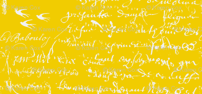 French Script Bold, Bright Yellow