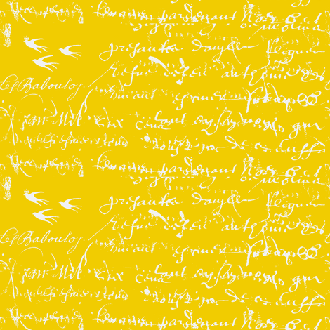 French Script Bold, Bright Yellow fabric by karenharveycox on Spoonflower - custom fabric