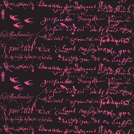 Anita's Inspiration Pink on black fabric by karenharveycox on Spoonflower - custom fabric