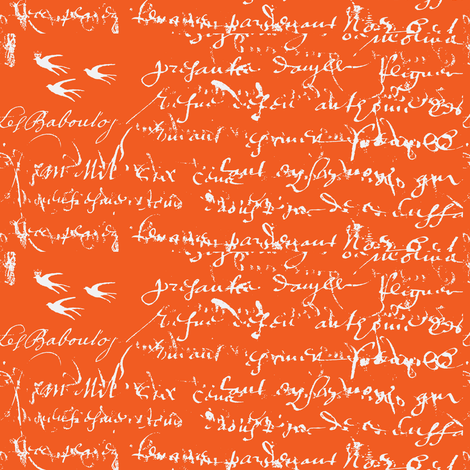 French Script Bold, Orange Juice fabric by karenharveycox on Spoonflower - custom fabric