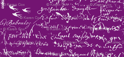 French Script Bold, Purple Grapes
