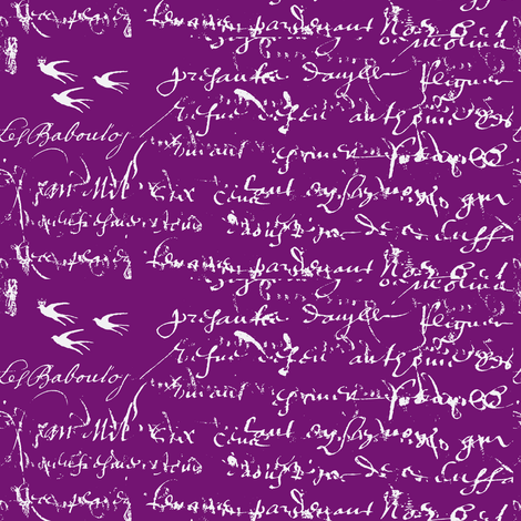 French Script Bold, Purple Grapes fabric by karenharveycox on Spoonflower - custom fabric