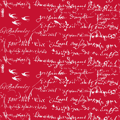 French Script Bold. Rosy Red fabric by karenharveycox on Spoonflower - custom fabric