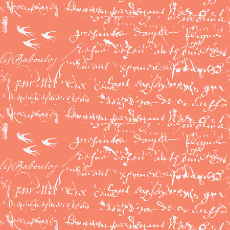 French Script Bold, Deep Peach fabric by karenharveycox on Spoonflower - custom fabric