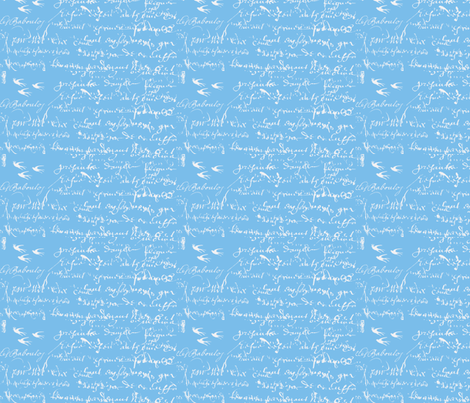 French Script Bold, bright blue fabric by karenharveycox on Spoonflower - custom fabric