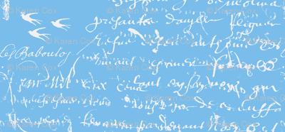 French Script Bold, bright blue