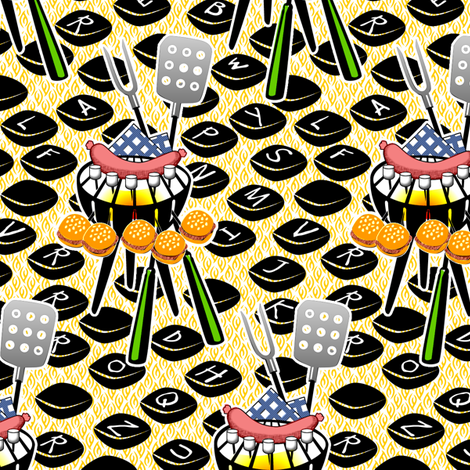 Combination Barbeque and Typewriter fabric by glimmericks on Spoonflower - custom fabric