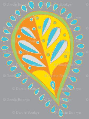 leafy paisley gray