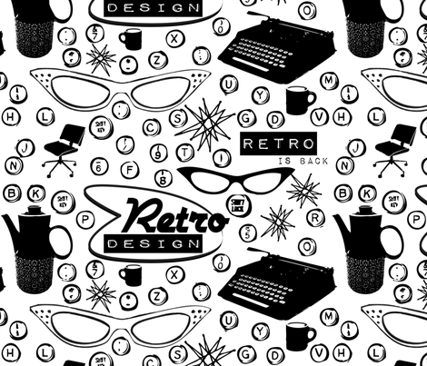 Retro Office typewriter fabric by bbsforbabies on Spoonflower - custom fabric