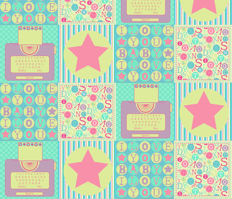 Bubblegum Typewriter fabric by jlwillustration on Spoonflower - custom fabric