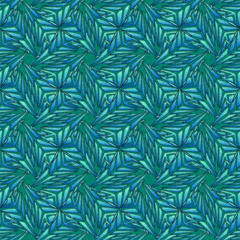 palm leaves - blue embroidered fabric by glimmericks on Spoonflower - custom fabric