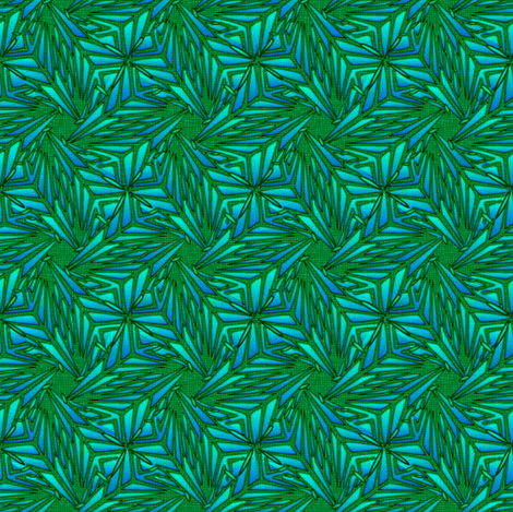 palm leaves - green embroidered