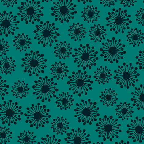 Seedpod on teal fabric by bippidiiboppidii on Spoonflower - custom fabric