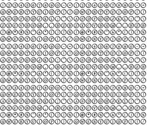 Typewriter Overnighter (Small White keys) fabric by bzbdesigner on Spoonflower - custom fabric
