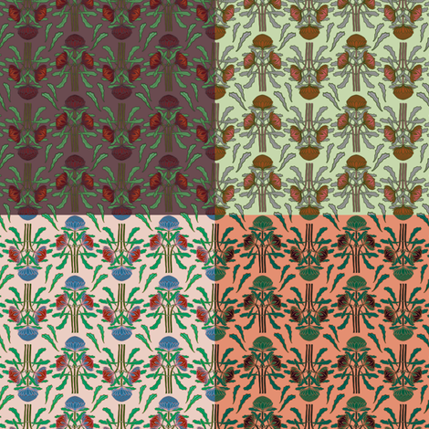 Small print waratahs 4 in 1 sampler fabric by su_g on Spoonflower - custom fabric
