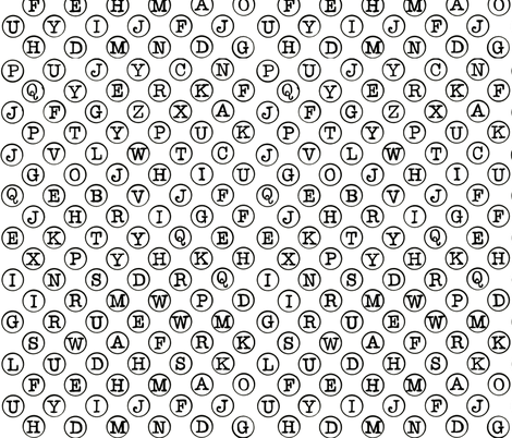 typewriter black keys on white background fabric by littlemissquarter on Spoonflower - custom fabric