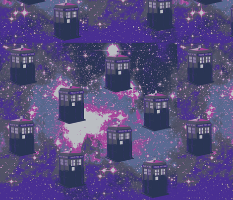 Tardis in Starry Space-purple