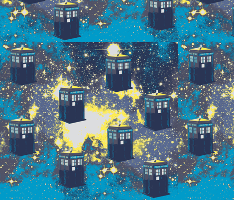 Tardis in Starry Space, aqua, yellow