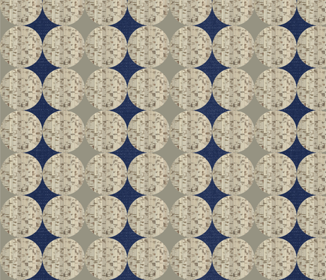 Denim_and_cork_circle_repeat fabric by sarahjtwist on Spoonflower - custom fabric