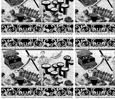 Typewriters__black___white_ fabric by toks_art on Spoonflower - custom fabric