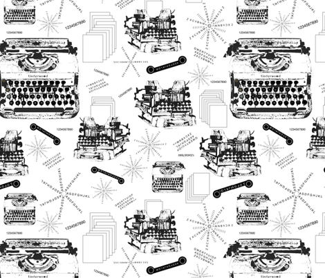 Typewriter, Ribbon & Paper fabric by petals_fair_(peggy_brown) on Spoonflower - custom fabric