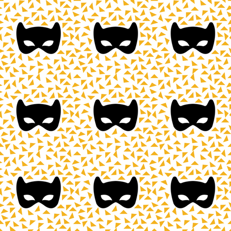 black white and yellow mask fabric by pencilmein on Spoonflower - custom fabric