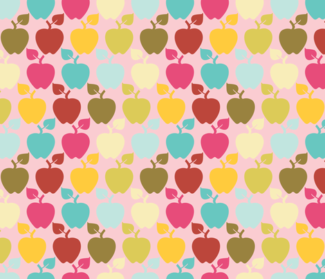 apples_pink fabric by natasha_k_ on Spoonflower - custom fabric