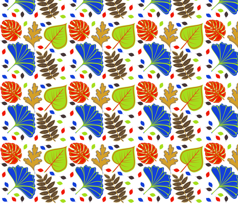 Multi Fall Leaves fabric by curlywillowco on Spoonflower - custom fabric
