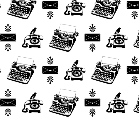 Typewriter fabric by annabhall on Spoonflower - custom fabric