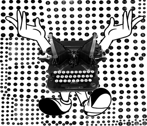 Angry TypeWriter fabric by miztaworldz on Spoonflower - custom fabric