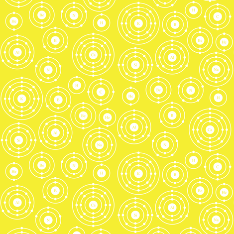 Periodic Shells (Yellow Ditsy) fabric by robyriker on Spoonflower - custom fabric