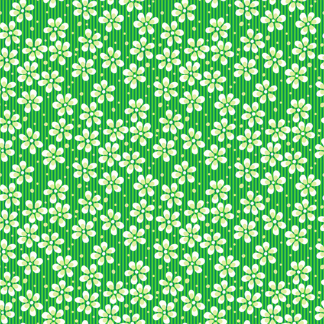 Moss Garden Flowers - Green fabric by siya on Spoonflower - custom fabric
