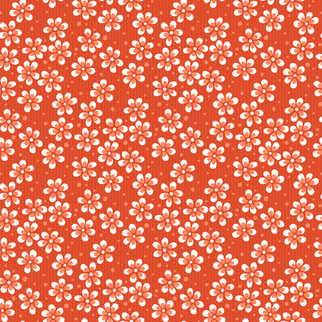 Moss Garden Flowers - Orange fabric by siya on Spoonflower - custom fabric