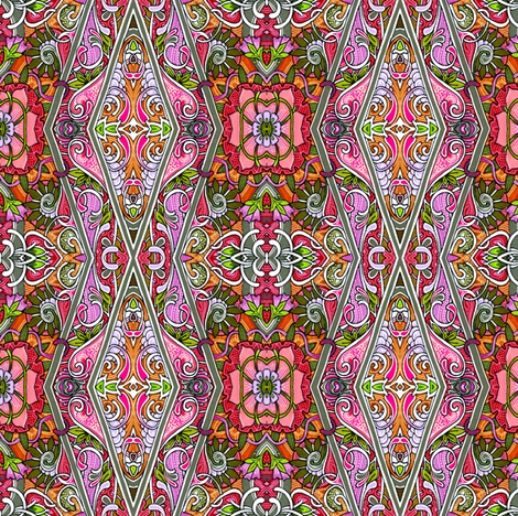 Zig Zag English Floral Border fabric by edsel2084 on Spoonflower - custom fabric