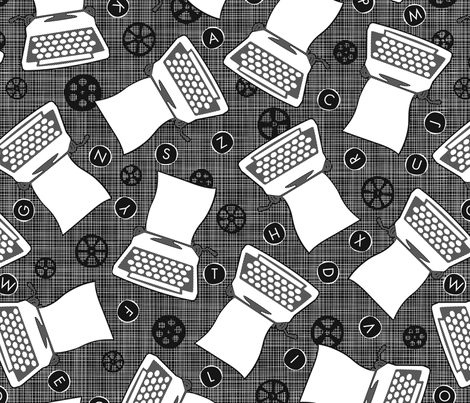 Roomful of Flying Typewriters fabric by jennartdesigns on Spoonflower - custom fabric